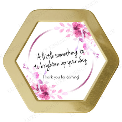 Gold Hexagon Tin With Hot Pink Floral - Top View || Gold