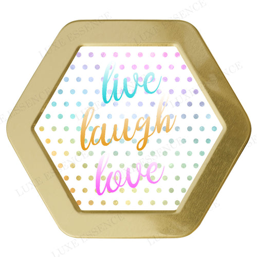 Gold Hexagon Candle With Live Laugh Love - Top View || Gold