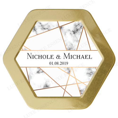 Gold Hexagon Candle With Marble Geometry - Top View || Gold