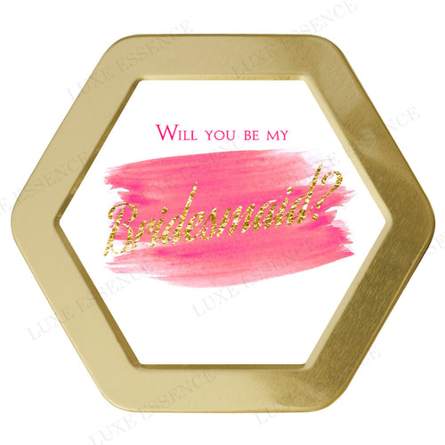 Gold Hexagon Candle With Modern Bridesmaid - Top View || Gold