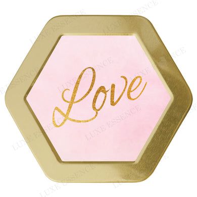 Gold Hexagon Tin With Pink Love - Top View || Gold