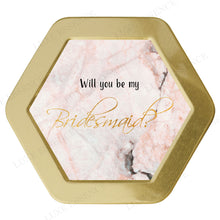 Gold Hexagon Candle With Pink Marble - Top View