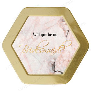 Gold Hexagon Candle With Pink Marble - Top View || Gold