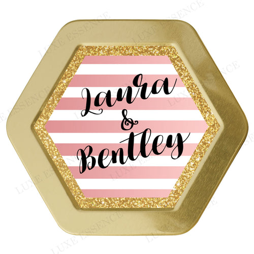 Gold Hexagon Candle With Pink Stripes - Top View || Gold