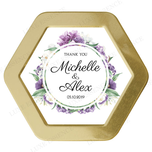 Gold Hexagon Candle With Purple Garden - Top View || Gold