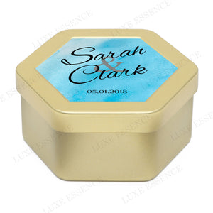 Gold Hexagon Tin With Something Blue - Side View || Gold