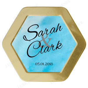 Gold Hexagon Tin With Something Blue - Top View || Gold
