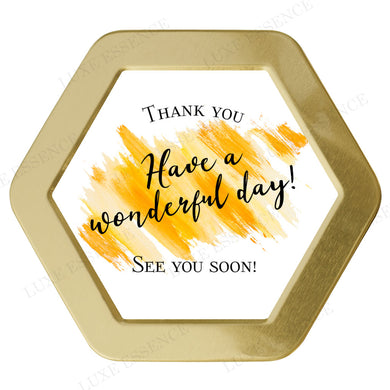 Gold Hexagon Tin With Wonderful Day - Top View || Gold