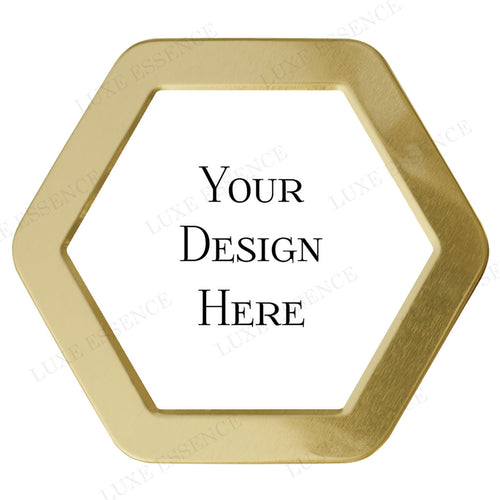 Gold Hexagon Candle With Your Design - Top View || Gold