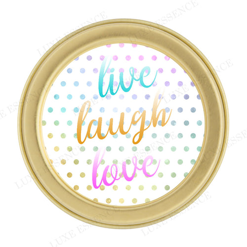 Gold Round Candle With Live Laugh Love - Top View || Gold