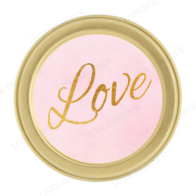 Gold Round Tin With Pink Love - Top View || Gold