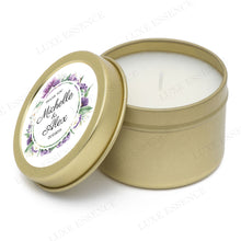 Gold Round Candle With Purple Garden - Semi-Open View