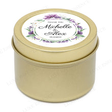 Gold Round Candle With Purple Garden - Side View