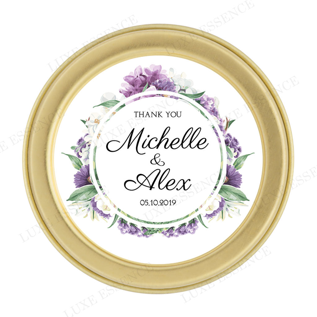 Gold Round Candle With Purple Garden - Top View || Gold