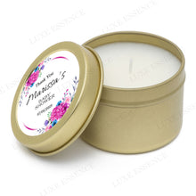 Gold Round Candle With Purple Spring Flowers - Semi-Open View