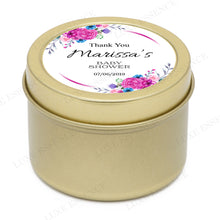 Gold Round Candle With Purple Spring Flowers - Side View