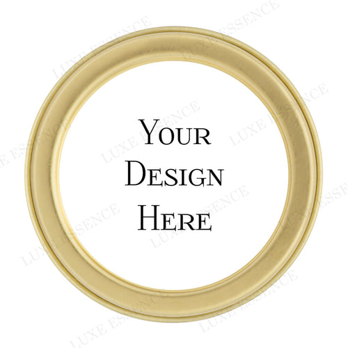 Gold Round Candle With Your Design - Top View || Gold