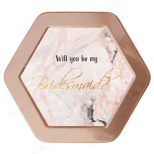 Rose Gold Hexagon Candle With Pink Marble - Top View || Rose Gold