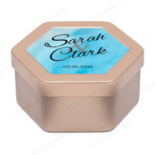 Rose Gold Hexagon Tin With Something Blue - Side View