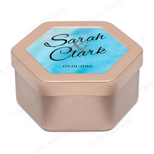 Rose Gold Hexagon Tin With Something Blue - Side View || Rose Gold