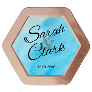 Rose Gold Hexagon Tin With Something Blue - Top View || Rose Gold
