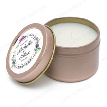 Rose Gold Round Candle With Purple Garden - Semi-Open View
