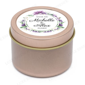 Rose Gold Round Candle With Purple Garden - Side View || Rose Gold