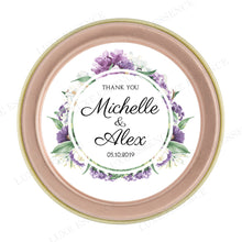 Rose Gold Round Candle With Purple Garden - Top View
