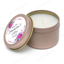 Rose Gold Round Candle With Purple Spring Flowers - Semi-Open View