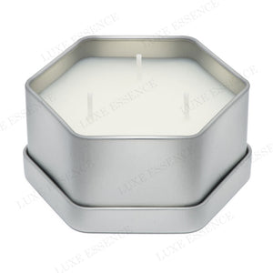 Silver Hexagon Candle With Pink Marble - Open View || Silver