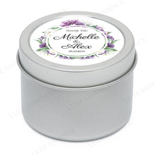 Silver Round Candle With Purple Garden - Side View
