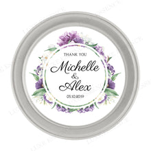 Silver Round Candle With Purple Garden - Top View
