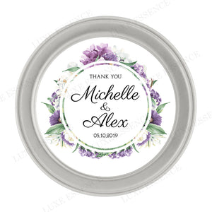 Silver Round Candle With Purple Garden - Top View || Silver