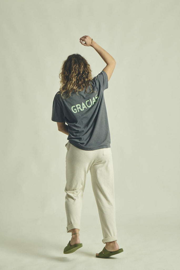 T-SHIRT GRACIAS CHARCOAL / BRIGHT GREEN