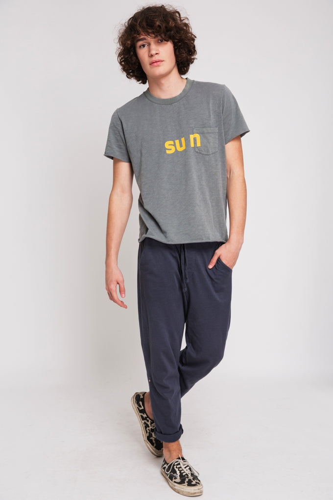 T-SHIRT SUN STONED GREY & YELLOW