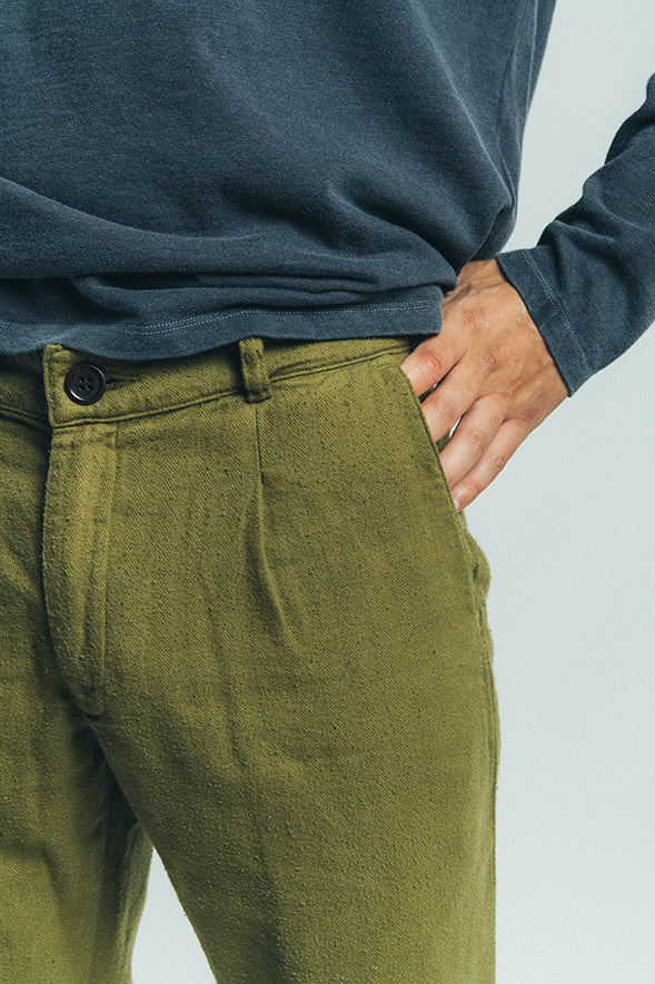 ORGANIC FLANNEL PANTS MILITAR GREEN