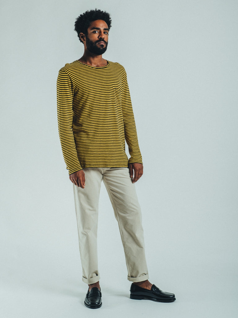 LONGSLEEVE STRIPES MUSTARD & CHARCOAL