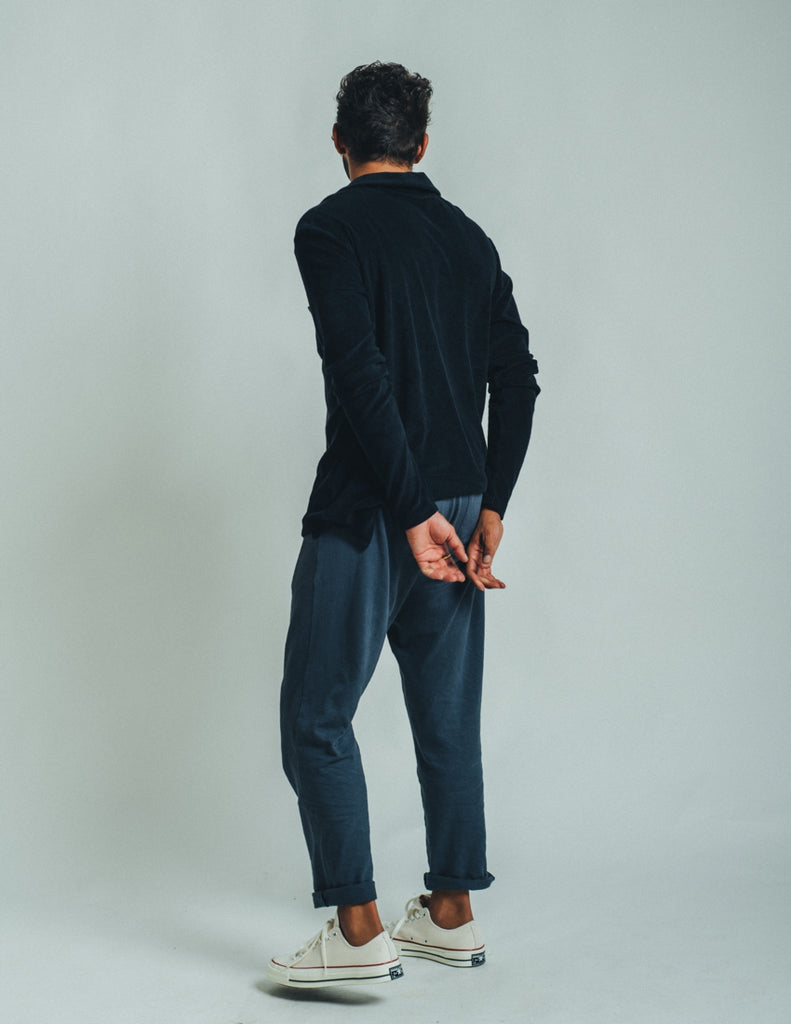 POLO LONG SLEEVE TERRY DARK GRAPHITE