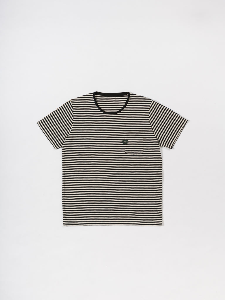 T-SHIRT STRIPES ROUND BLACK & CRU