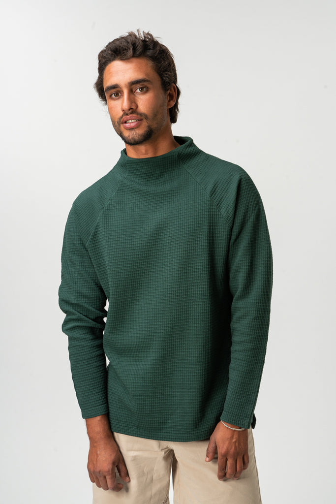 SWEATSHIRT WAFFLE MOCK NECK BOTTLE GREEN