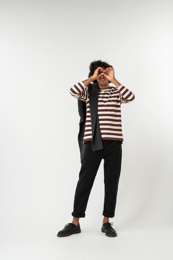 LONG SLEEVE ESSENCIAL STRIPES BORDEAUX & SAND