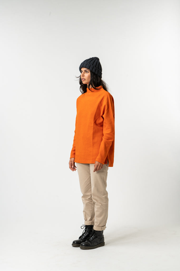 SWEATSHIRT WAFLE MOCK NECK ORANGE