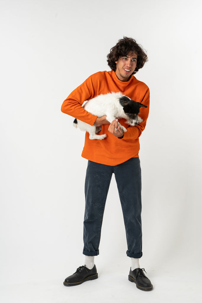 SWEATSHIRT WAFFLE MOCK NECK ORANGE
