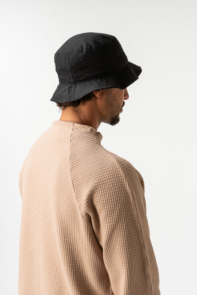 SWEATSHIRT WAFLE MOCK NECK CAMEL
