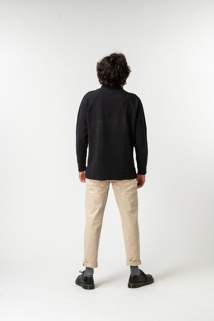 SWEATSHIRT WAFLE MOCK NECK BLACK