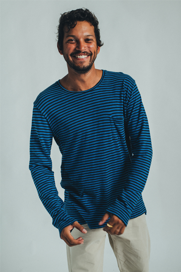 LONG SLEEVE STRIPES OCEAN BLUE & CHARCOAL