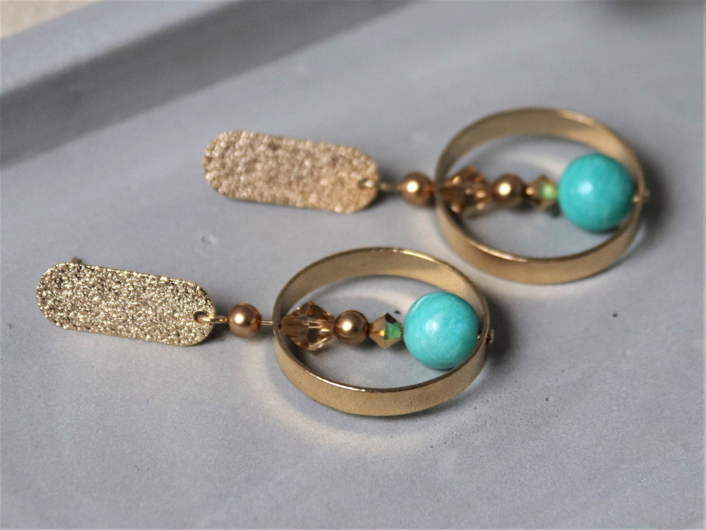 Gwen Earrings [Amazonite]