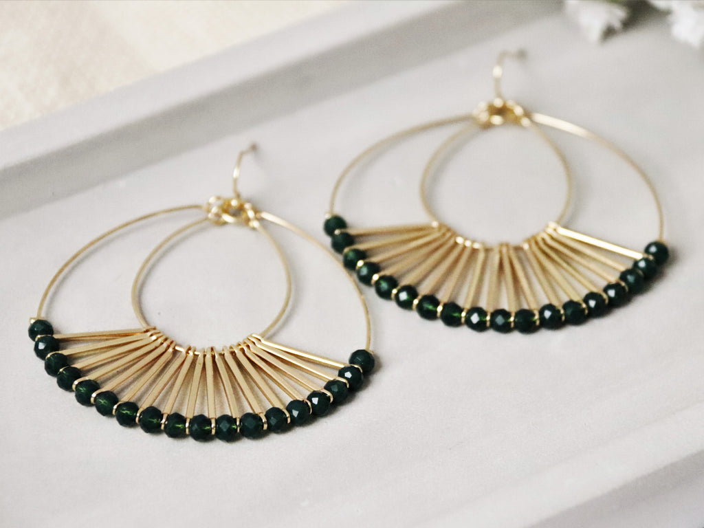 Rhoda Earrings [Forest Green]