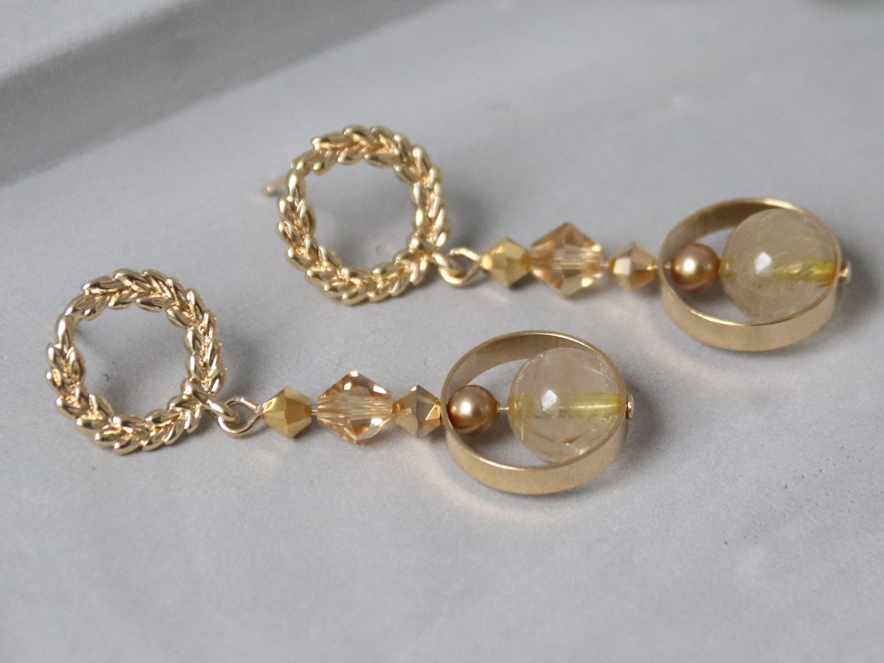 Perry's Earrings [Copper Rutilated Quartz]