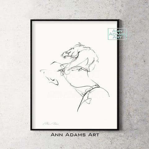 H01 quick head horse Sketch Charcoal Minimalist Fine Art Drawing black and white abstract tutorial Ann Adams Etsy 5x7 8x10 11x14 16x20 A2 size annadamsart Simple line